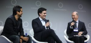 Nate Morris on stage at the 2016 Concordia Summit with Oscar Salazar (Uber) and Andy Serwer (Yahoo Finance)